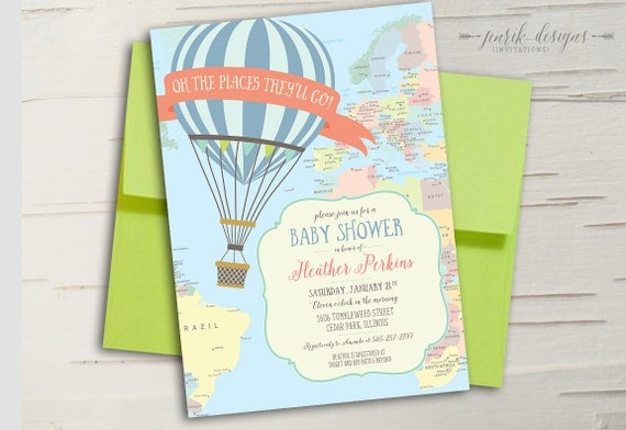 hot air balloon baby shower invitation oh the places, Baby shower invitations