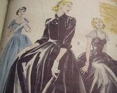 Vintage 1950's Butterick 6485 Evening Dress and Jacket Sewing Pattern, Size 18, Bust 36
