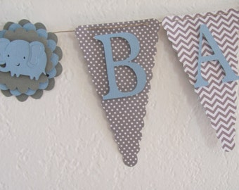 Light Blue and Grey Baby Shower Banner, Baby Shower Decorations, Elephant Banner