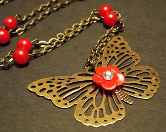 Red and Bronze Butterfly Necklace