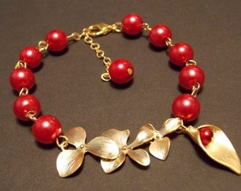 Red and Gold Orchid Bracelet