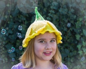 Daffodil Fairy or Pixie Knitted Hat; Costume, Dress Up, or just for fun