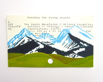 Mountains Library Card Art - Print of my painting of mountains on a library card catalog card