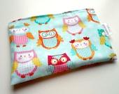 Reusable Snack & Sandwich Bag -- Teal Owl Print Eco-Friendly