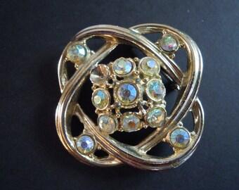 Gold Knot and Aurora Borealis Rhinestone Pin Brooch - Vintage