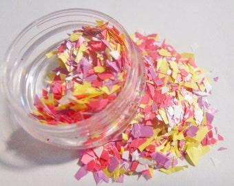 Matte Random Cut Pastel Solvent Resistant Glitter Mix  -  Pastel Confetti - 5 Gram Nail Polish Glitter Blend for Nail Polish Frankening