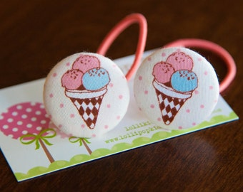 2 Piece Ice cream Covered Button Hair Ties