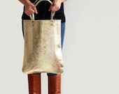 Gold leather tote, soft leather bag, women leather bag