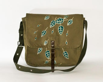 Vintage Hand Painted Military Bag Green Cotton Canvas Messenger Bag, Crossbody Bag, Turquoise Leaves