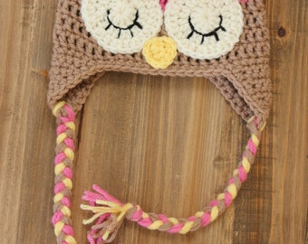 Pink and Brown Owl Hat, Little girl owl Hat, Baby owl hat