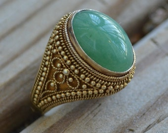 Gorgeous antique art deco filigree chinese export gold over silver adjustable ring with jade green stone