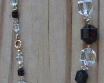 Stunning antique 20s art deco flapper cut crystal czech glass necklace / wedding jewelry