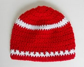 Infant  Red Hat With White Stripes  Baby  Girl  Christmas Cap  Toddler Boy  Winter Valentines  Beanie 2 Years To 5 Years Old Fall Skullcap
