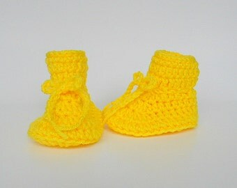 Bright Yellow Baby Booties 3 To 6  Month Old  Infant Girl  Slippers Boy  Crib Shoes