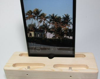 Hand crafted charging and docking station, Made (USA) from reclaimed pine wood, for mini iPad , iPad 2.3 & iPhone 4 or 5 or 6 and 6 plus