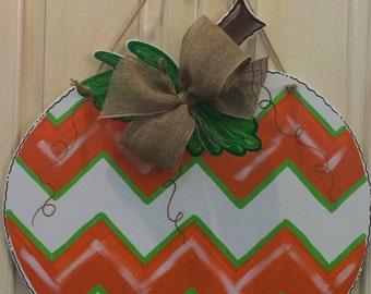 Wood Chevron Pumpkin Door Hanger