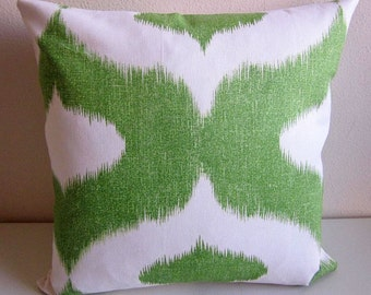 Duralee Dalesford Pillow Cover Green White Decorative Pillow Cover Linen Ikat Quatrefoil Ethnic Tribal Boho Bohemian Throw Pillow Cover