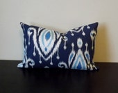 Decorative Throw Pillow, 12x16,12 x18 Lumbar Pillow, Blue Ikat Pillow, Surat Ikat Pillow,Toss Pillow, Accent Pillow, Sofa Pillow