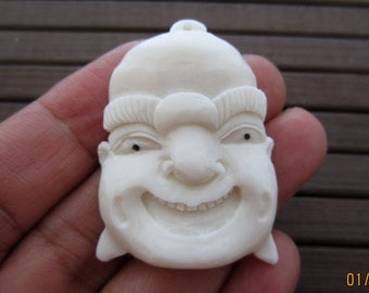 Laughing    Buddha in buffalo bone, drilled,  Carved  pendant, Bone carving, Jewelry making Supplies B4737