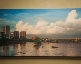 Canvas of Richmond Va Skyline on James River, Richmond Virginia Landscape Photo Art, Canvas Photography Option