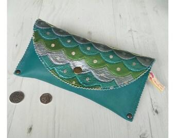 Leather Mermaid Purse - Mermaid bag - scales bag - Mermaid accessories - seaside - surfer chick - mermaids bag - fish purse