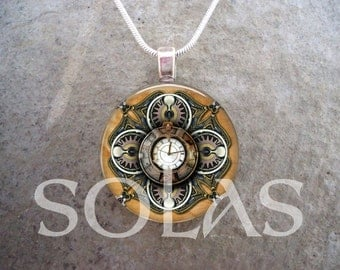 Steampunk Necklace - Glass Pendant Jewelry - Steampunk 1-16