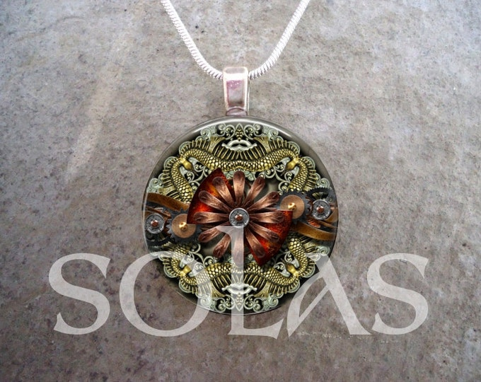 Steampunk Necklace - Glass Pendant Jewelry - Steampunk 1-2