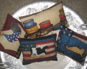 4 Primitive Country Pillows Home Decor Bowl Fillers Tucks Reversible