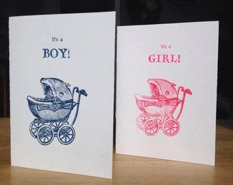 It's a Boy / It's a Girl - Hand-printed Letterpress Card