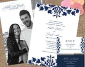 Navy & White Wedding Invite Suite with Photo Back / 'The Kallie' Decorative Scrolls - Printable DIY or We Print #Navy #Scrolls #Kallie