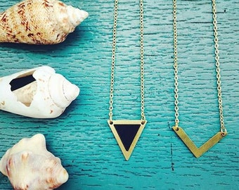 Necklace. Black Triangle necklace, popular necklaces, Geometric necklace, necklaces for women