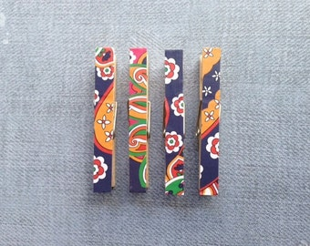 Vera Bradley Venetian Paisley Clothespin Magnets Green, Blue, Orange, Red, Yellow, and White Set of four