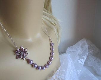 Purple Wisteria Bridesmaid Necklace Purple Wedding Bridesmaid Gift Lavender Flower Bridal Necklace