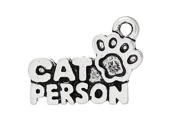 8 CAT PERSON Charms Antique Silver Tone Cute Pet Charm Jewelry 18x13 mm