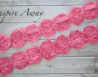 "Bubblegum  Mini Bow Trim - 1 YARD-Wholesale Discounts - Mini 2.5"" chiffon bow trim -Supplies, DIY headband supply, DIY hair bow"