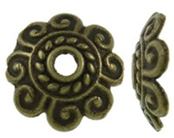 50pcs 7mm antique bronze finish flower bead caps-9628