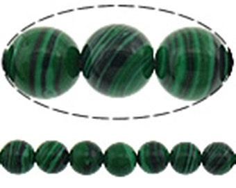 15 inch strand 6mm Imitation Malachite Beads(65-66 beads)-9630A