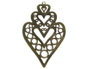 8pcs antique bronze 8.5cm x 5.5cmcm filigree wraps/pendants-B57