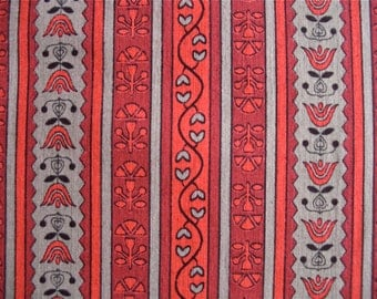 Vintage Red and Taupe Striped Fabric 2 1/4 yards x 36 inches wide