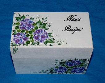 Custom Recipe Box Wood Wedding Recipe Box Personalized Wooden Recipe Card Box Hand Painted Wedding Advice Box Decorative Bridal Shower Gift