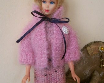 Barbie clothes - pink sleeveless dress with pink fluffy jacket