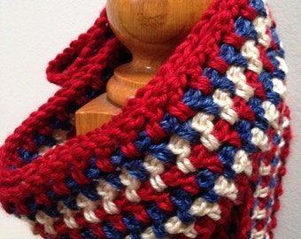 Red, White, and Blue Striped Scarf with Fringe; Multicolor Fashion Neckwarmer; Cowl