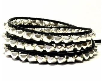 Leather Wrap Bracelet - Silver Nuggets , Black Leather - Bohemian Trendy