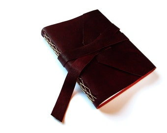 Large Leather Journal with Double Wrap Tie in Marsala/Dark Wine