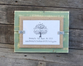 Picture Frame - Distressed Wood - Holds a 4x6 Photo - Sage Green & Burlap
