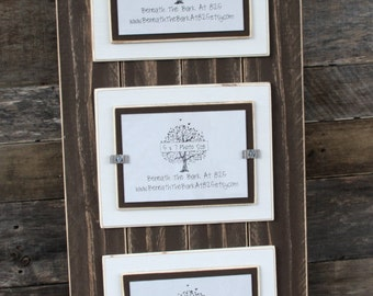 Triple 5x7 Picture Frame - Distressed Wood - Double Mats - Holds 3 - 5x7 Photos - Chocolate Brown Boards with White and Brown Mats