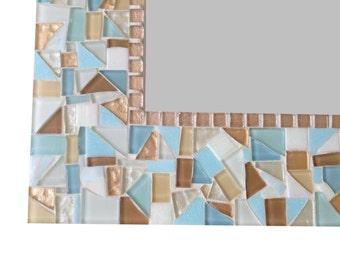 Large Mosaic Mirror in Aqua, Blue, Copper // Beach House Decor // Decorative Wall Mirror