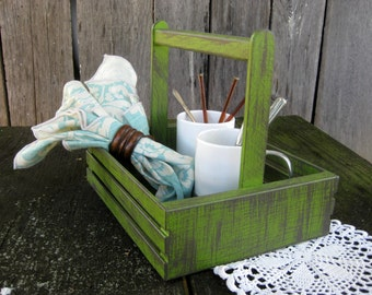 Rustic Painted Wooden Crate Basket Caddy Handle Bright Green Graphite Distressed Worn Weathered Shabby Storage Display
