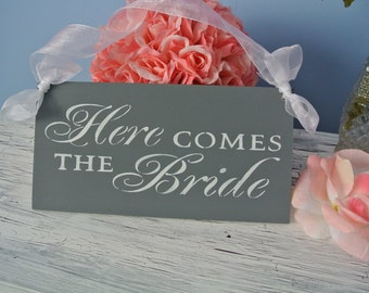 Here Comes The Bride Sign, Wedding Sign, Gray and White, custom colors, bridal shower gift