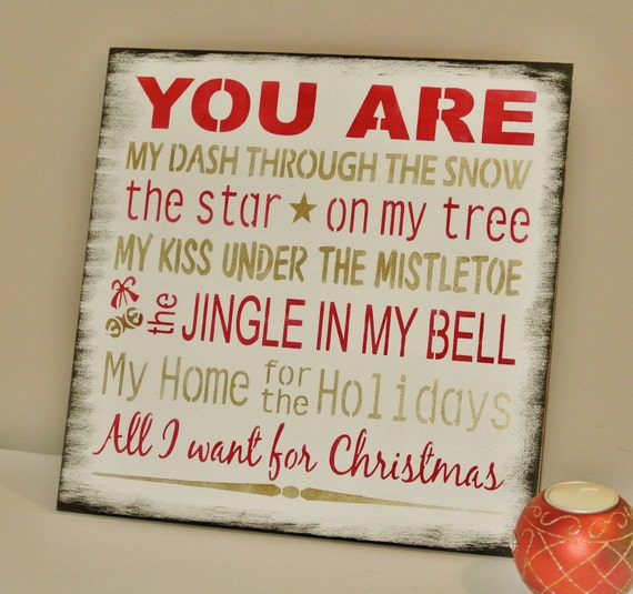 christmas sign you are all i want for christmas romantic gift. Black Bedroom Furniture Sets. Home Design Ideas